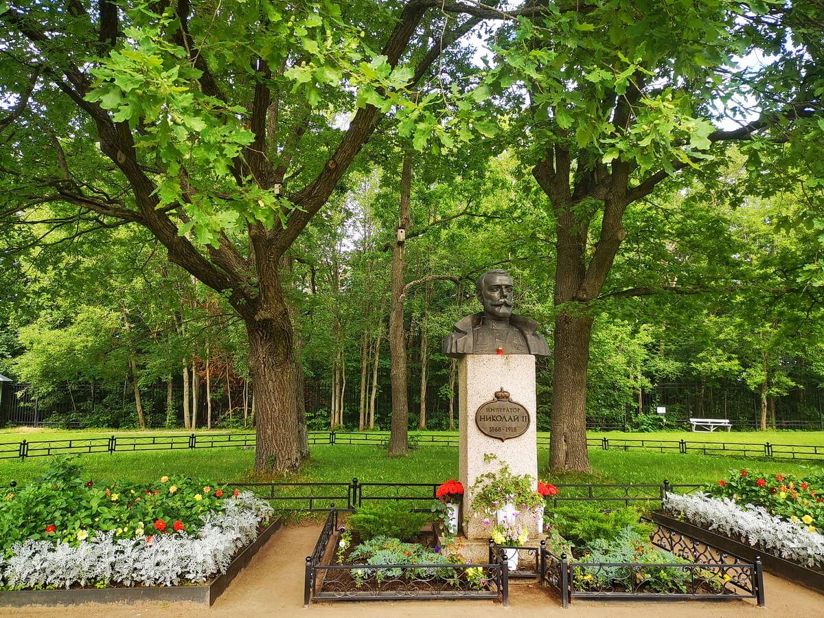Бюст Николая II. Позади - те самые дубы